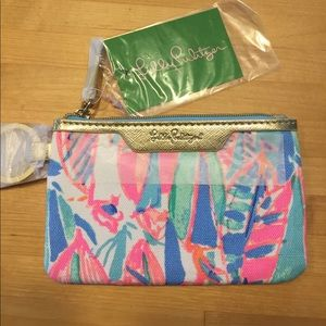 New Lily Pulitzer our to sea wristlet id